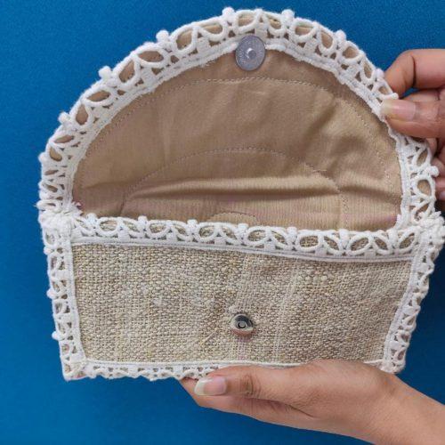 Pure Hemp Handmade Purse with Lace