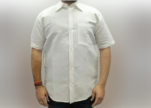 Men White Regular Fit Hemp Shirt